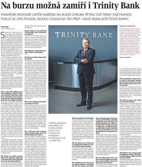 Radomír Lapčík vHospodářských novinách mluví oplánech avstupu naburzu